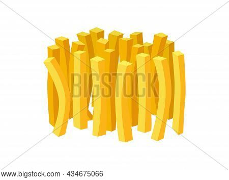 French Fries Portion Fast Food On White Background. Fried Potato Sticks Bunch Vector Flat Eps Illust