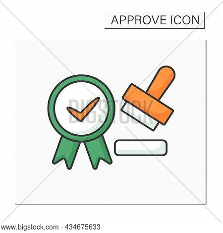 Approved Seal Color Icon. Seal Which Approves Documents, Law And Regulations. Important Laws Tool. C