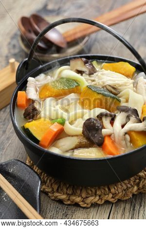 Hoto, Japanese udon noodles hot pot with squash and vegetables.