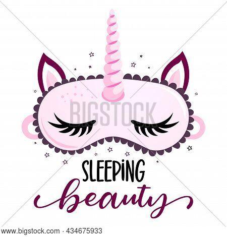 Sleeping Beauty! - Funny Hand Drawn Doodle. Sleeping Mask, Stars, Hearts. Cartoon Background, Textur