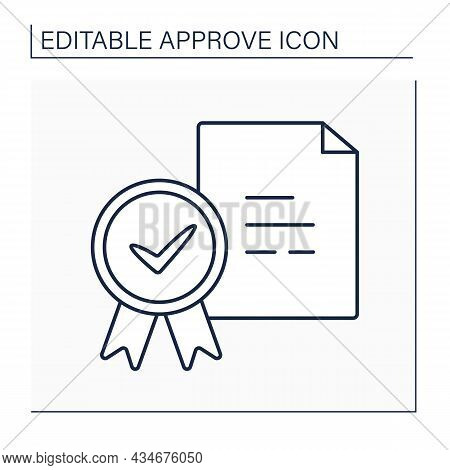 Approved Doc Line Icon. Appointed And Documented Guidance And Regulations. Document Approved Seal.co