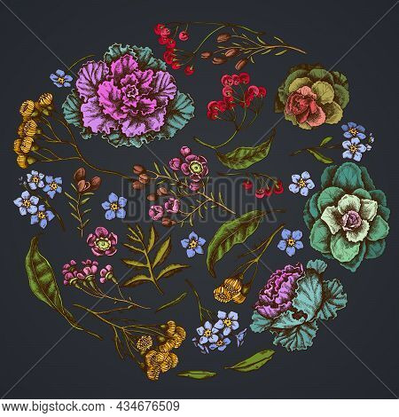 Round Floral Design On Dark Background With Wax Flower, Forget Me Not Flower, Tansy, Ardisia, Brassi