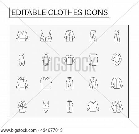Clothes Line Icons Set. Trendy Outfit. Fashionable Clothing. Shopping Concept. Isolated Vector Illus