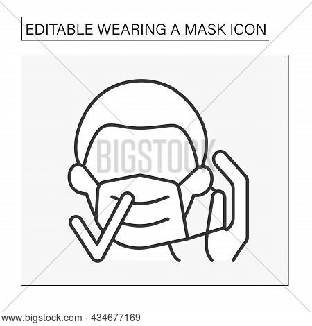 Face Mask Line Icon. Mask Wearing Regulations. Correct Mask Changing. Healthcare Concept. Isolated V
