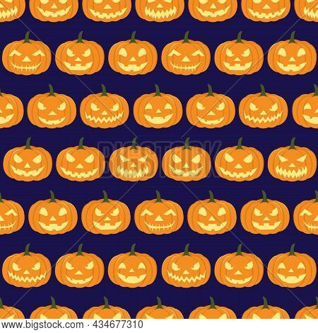 Isolated Carved Pumpkins On Dark Background. Suitable For Carving Competition Invitations, Gift Wrap