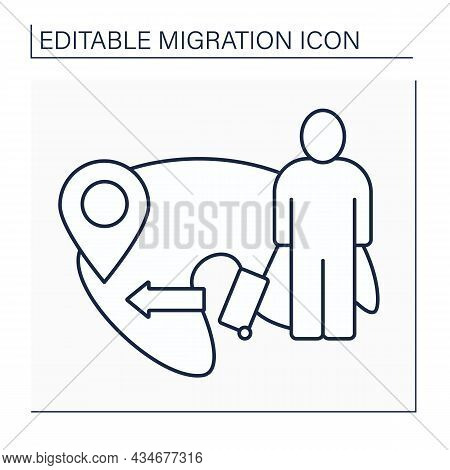 Emigration Line Icon. International People Movement To Destination Country. Leave Native Country To