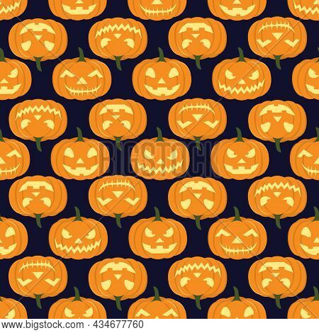 Isolated Carved Pumpkins On Dark Background. Suitable For Carving Competition, Party Invitation, Gif