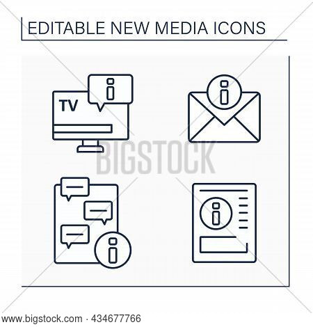 New Media Line Icons Set.television, Newspaper, Message Notification. Chatting. Information Space Co