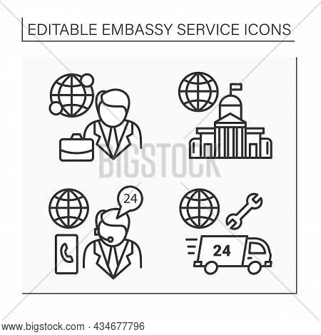 Embassy Service Line Icons Set. Client Consultation, Assistance. Diplomation Mission Concept. Isolat