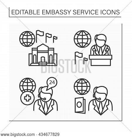 Embassy Service Line Icons Set. Ambassador, Medical And Passport Assistance, High Commission. Diplom
