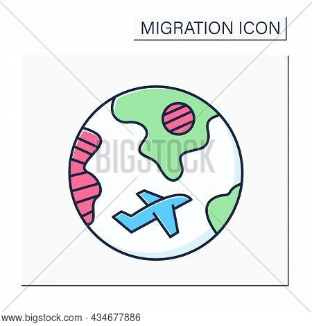 Diaspora Color Icon. Ethnic Community That Permanently Resides Outside Of Its Homeland. Migration Co