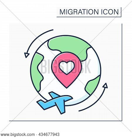 Repatriation Color Icon. Returning Voluntarily Or Forcibly To Place Of Origin Or Citizenship. Restor