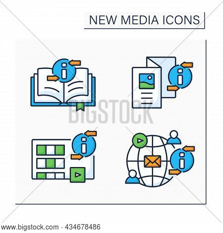 New Media Color Icons Set. Book, Brochure, Movies, Social Networks. Information Space Concept. Isola