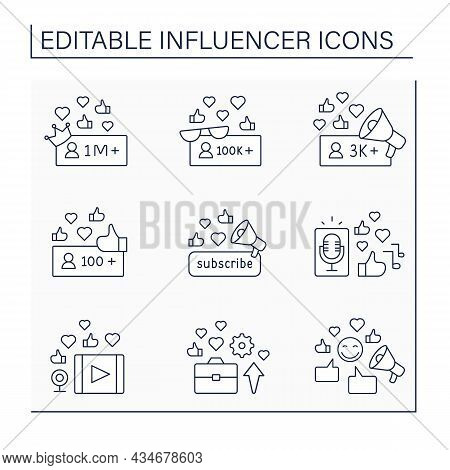Influencer Line Icons Set. Followers Create Podcasts And Video Content. Blogging Concept. Isolated V