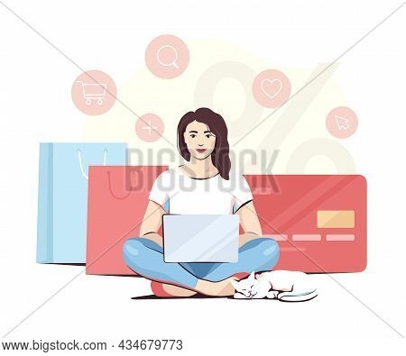 Woman Doing Online Shopping Sitting Cross-legged With A Cat By Her Side, Vector Illustration