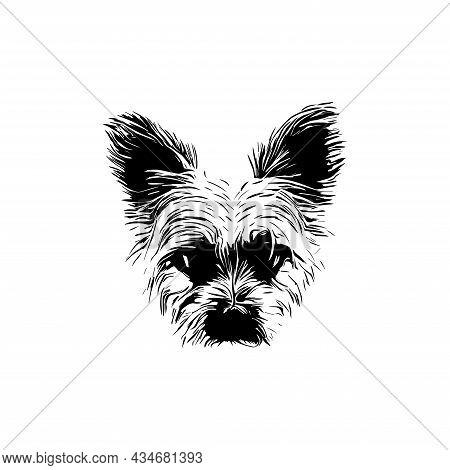 Yorke Terrier Silhouette Ar. Cute Peeking Yorkie Vector Illustration. Circuit Yorkshire For T-shirts