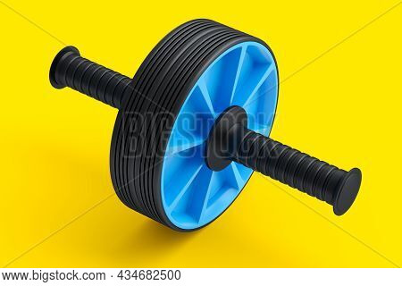 Ab Roller For Abdominal Muscles Isolated On Yellow Background. 3d Rendering Of Sport Equipment For A