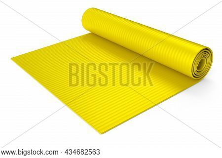 Yellow Yoga Mat Or Lightweight Foam Camping Bed Roll Pad Isolated On White Background. 3d Rendering