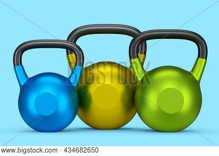 Set Of Gym Kettlebells For Workout Isolated On Blue Background. 3d Rendering Of Sport Equipment For