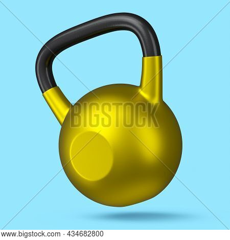 Heavy Gym Gold Kettlebell For Workout Isolated On Blue Background. 3d Rendering Of Sport Equipment F