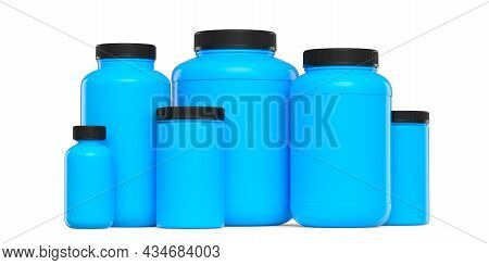 Set Of Blue Plastic Jar For Sport Nutrition Whey Protein And Gainer Powder Isolated On White Backgro