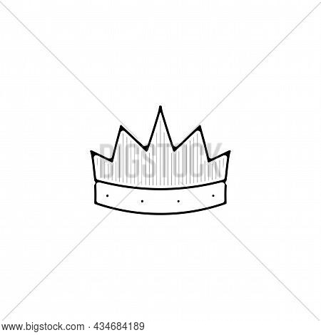 King Crown Vector Thin Line Icon. King Crown Hand Drawn Thin Line Icon.