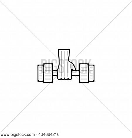 Dumbbell Vector Thin Line Icon. Gym Dumbbell Hand Drawn Thin Line Icon.