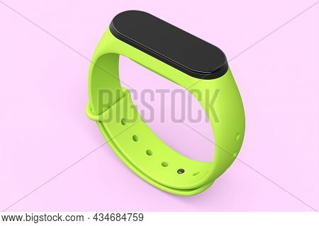 Green Fitness Tracker Or Smart Watch With Heart Rate Monitor Isolated On Pink Background. 3d Render