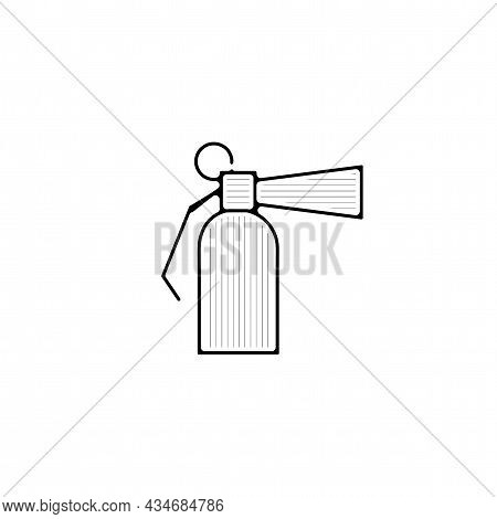 Fire Extinguisher Vector Thin Line Icon. Fire Extinguisher Hand Drawn Thin Line Icon.