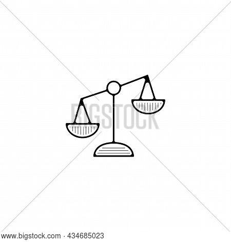 Balance Scale Vector Thin Line Icon. Libra Scale Hand Drawn Thin Line Icon.