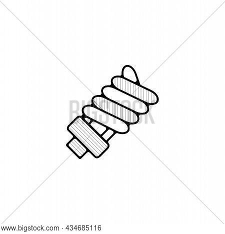 Energy Saving Bulb Vector Thin Line Icon. Energy Saving Lamp Hand Drawn Thin Line Icon.