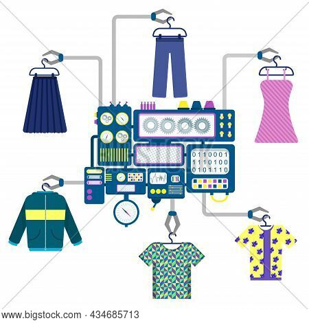 Machine With Claws Holding Different Pieces Of Clothing Like T-shirts, Shirts, Dresses, Skirts, Jack