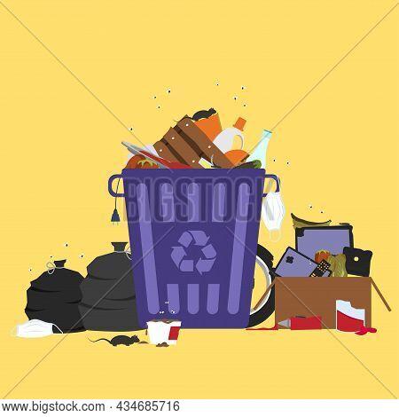Large Trash Bin Overflowing Garbage (rotten Fruit, Old Tires, Used Masks Surgical, Packing Of Plasti