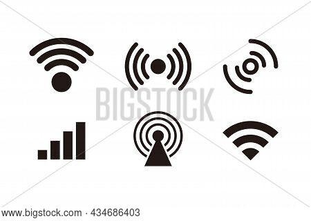 Set Of Black Signal Icon Design, Various Signal Logo Collection Template Vector