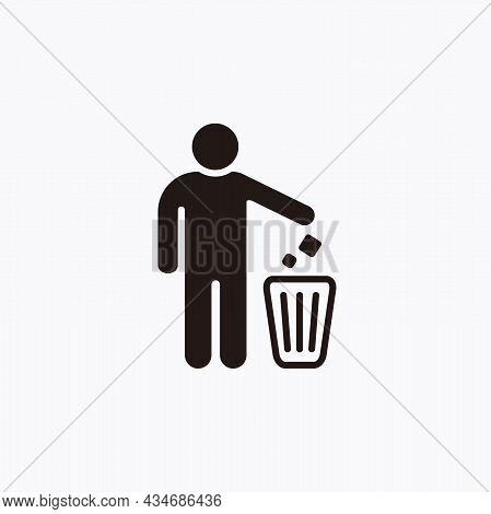 Do Not Litter Sign, Throw Garbage In The Trash Icon Illustration Template Vector