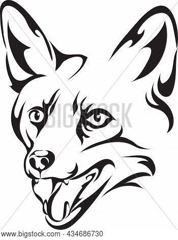 Fox, Portrait, Line, Mammals, Animal, Mammal, Black, Silhouette, Drawing, White, Black, Contour, Out