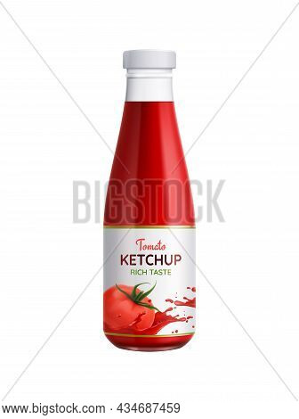 Realistic Icon With Bottle Of Tomato Ketchup On White Background Vector Illustration