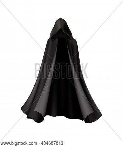 Hooded Black Cloak Robe For Halloween Realistic Vector Illustration