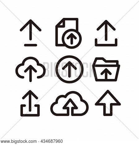 Set Of Simple Flat Upload Icon Illustration Design, Silhouette Upload Symbol Collection With Outline
