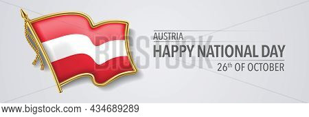Austria Happy National Day Greeting Card, Banner With Template Text Vector Illustration