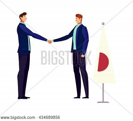 Diplomacy Flat Icon With Two Politicians Handshaking Vector Illustration