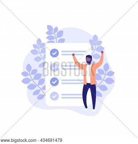 Completed Tasks, To Do List Vector Illustration