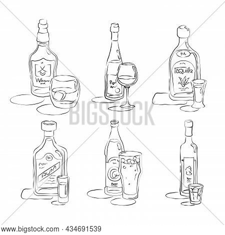Bottle And Glass Whiskey, Wine, Tequila, Rum, Beer, Vodka Together In Hand Drawn Style. Beverage Out