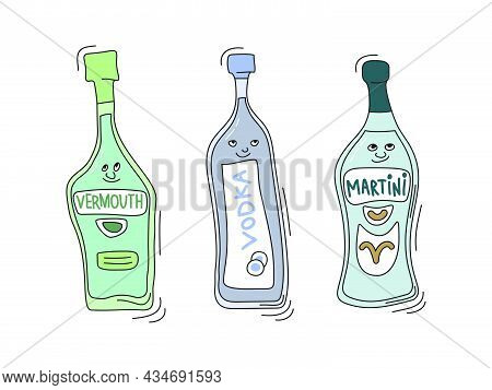 Vermouth, Vodka And Martini With Smile On White Background. Cartoon Sketch Graphic Design. Doodle St
