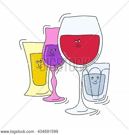 Red Wine Tequila Liquor Vodka Glassware With Smile Face On White Background. Cartoon Sketch. Doodle
