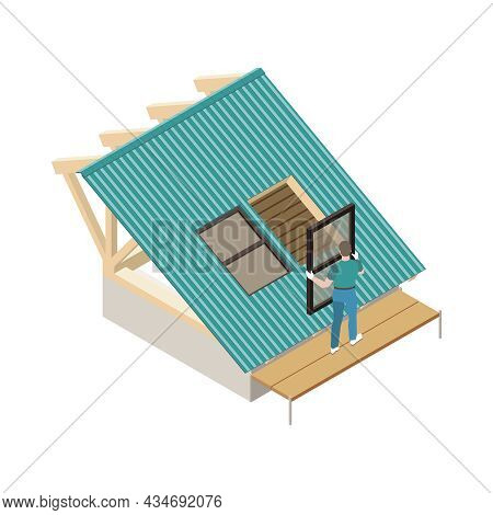 Roofer Installing Window On House Roof 3d Isometric Vector Illustration