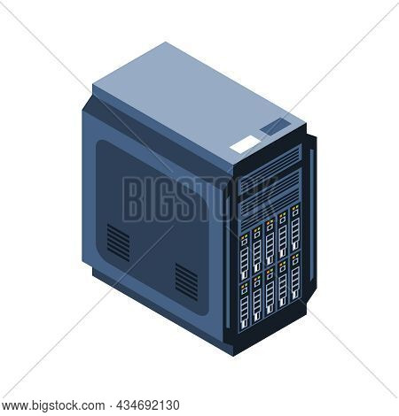 Isometric Icon With Computer Hardware System Unit On White Background 3d Vector Illustration
