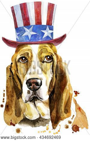 Watercolor Portrait Of Basset Hound With Uncle Sam Hat On White Background