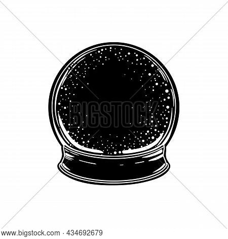 Crystak Ball. Vector Isolated Illustration In Victorian Style. Mediumship Divination Equipment. Flas