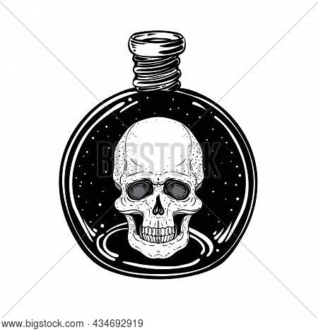 Magic Potion, Black Bottle With Moon And Stars Inside. Vector Illustration Isolated On White. Spirit